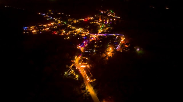 Angarrack Christmas lights from above